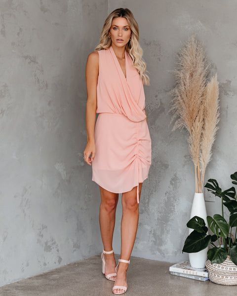 Athena Adjustable Drape Dress - Blush