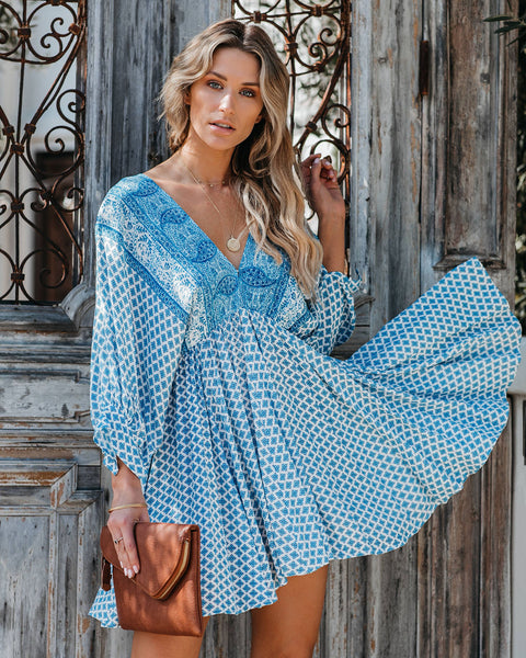 Athens Printed Babydoll Swing Dress