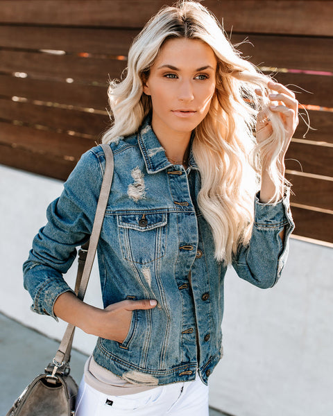 Atlas Distressed Pocketed Denim Jacket