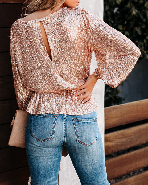 A Touch Of Fun Sequin Tie Top