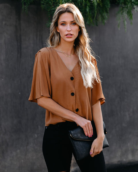 Augusto Button Down Top - Camel
