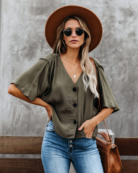 Augusto Button Down Top - Olive