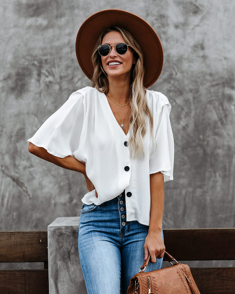 Augusto Button Down Top - White