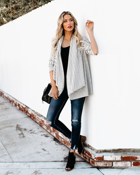 Avalanche Striped Waterfall Two Way Cardigan