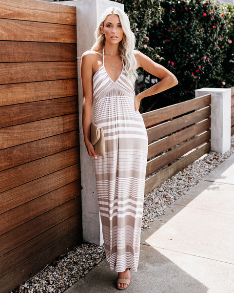 Avalon Striped Halter Maxi Dress