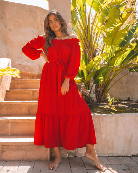 Avant Garde Off The Shoulder Ruffle Maxi Dress - Red