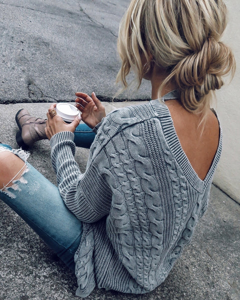 Pull Me Close Cotton Cable Knit Sweater