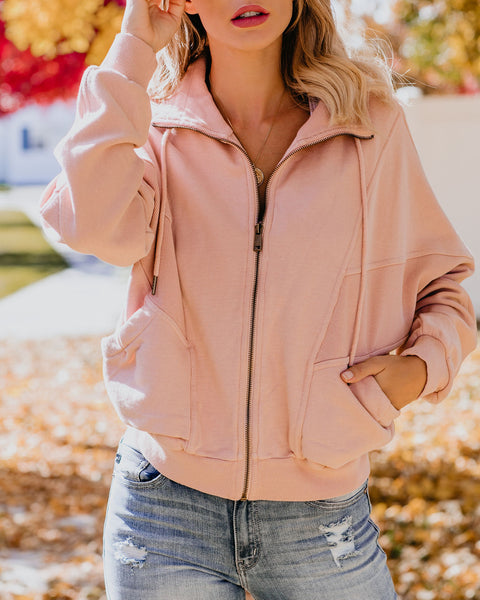 Back And Forth Cotton Pocketed Jacket - Dusty Pink - FINAL SALE