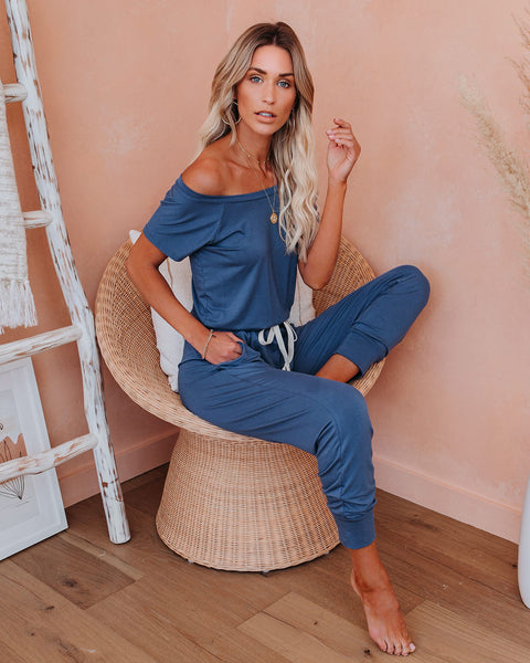 Backseat Pocketed Knit Jumpsuit - Blue