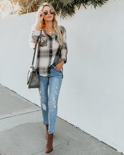 Backwoods Button Down Plaid Top
