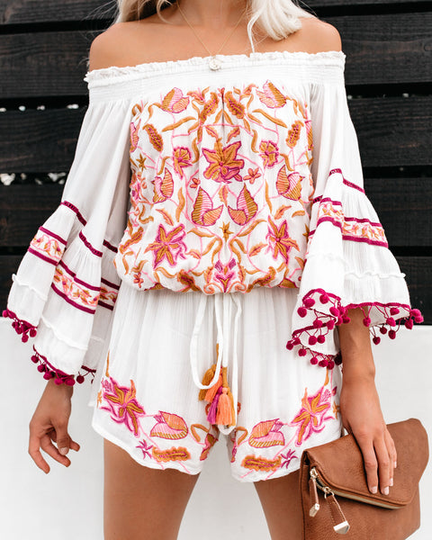 Baja Sunset Off The Shoulder Embroidered Pom Romper