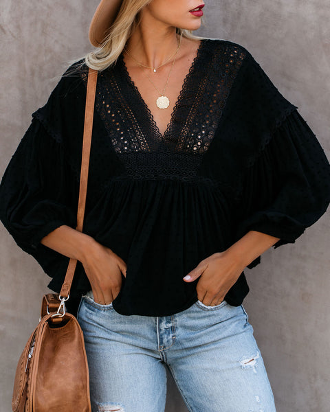 Balloon Festival Swiss Dot Crochet Blouse - Black - FINAL SALE