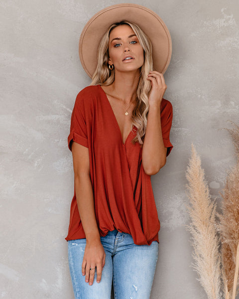 Balloon Fiesta Drape Knit Top - Terracotta