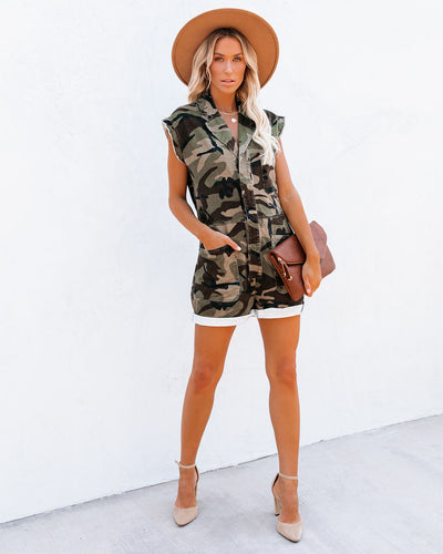 Bandit Cotton Pocketed Camo Romper