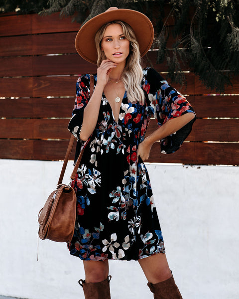 Bare Branches Floral Babydoll Dress - Black
