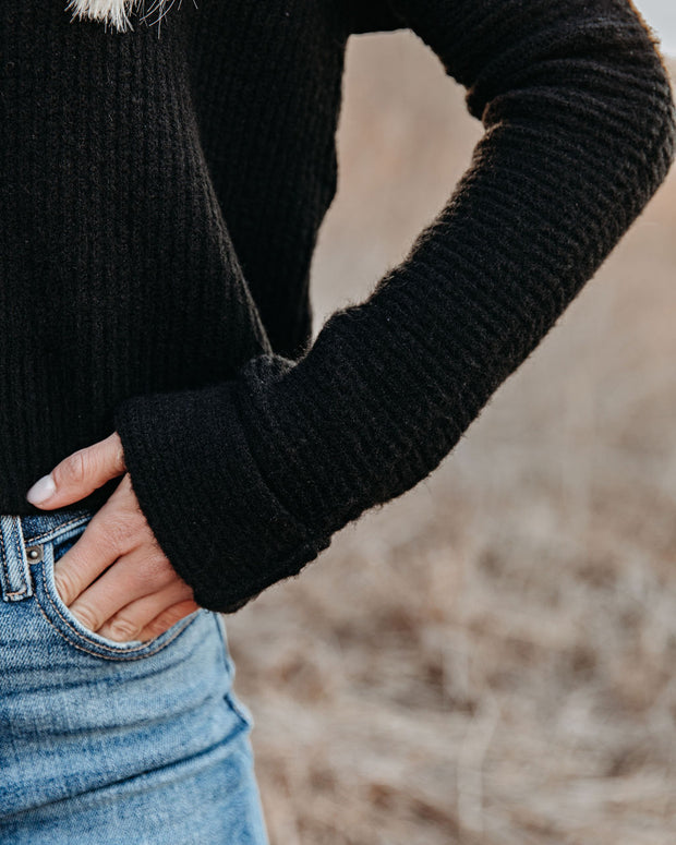 Basin Cropped Knit Sweater - Black view 4