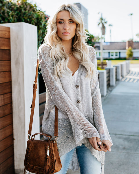 Beach Bonfire Knit Cardigan - Heather Grey
