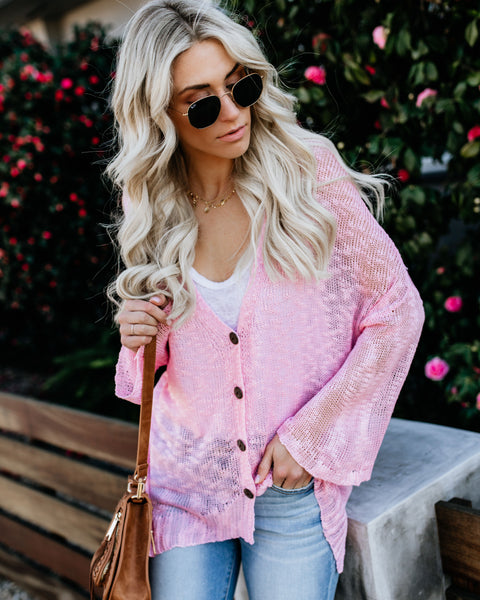 Beach Bonfire Knit Cardigan - Pink