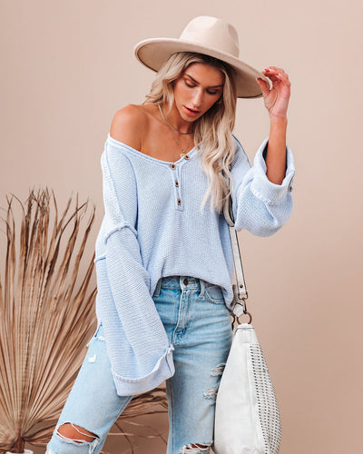 Beach Bound Cotton Henley Sweater - Baby Blue