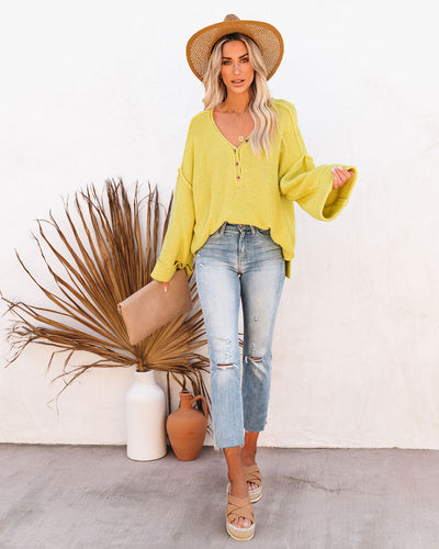 Beach Bound Cotton Henley Sweater - Lemon