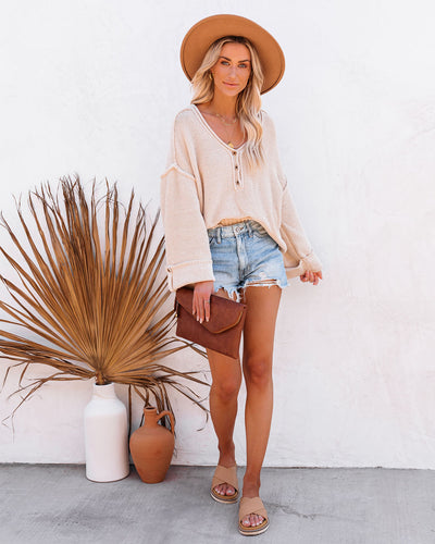 Beach Bound Cotton Henley Sweater - Natural