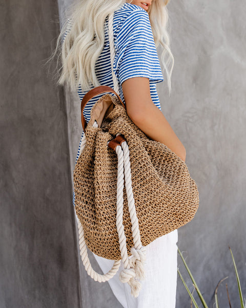 Beach Day Straw Rope Tie Backpack - Tan