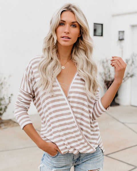 Beaches Striped Wrap Top