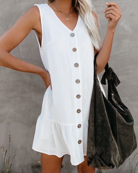 Beach, Please Pocketed Button Down Tank Dress - Off White