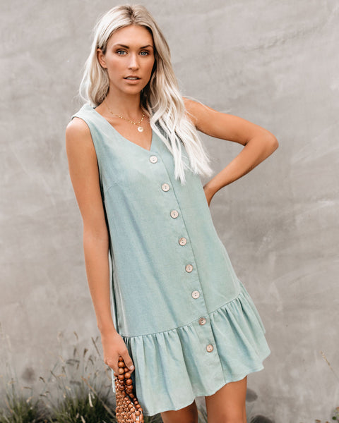 Beach, Please Pocketed Button Down Tank Dress - Sage