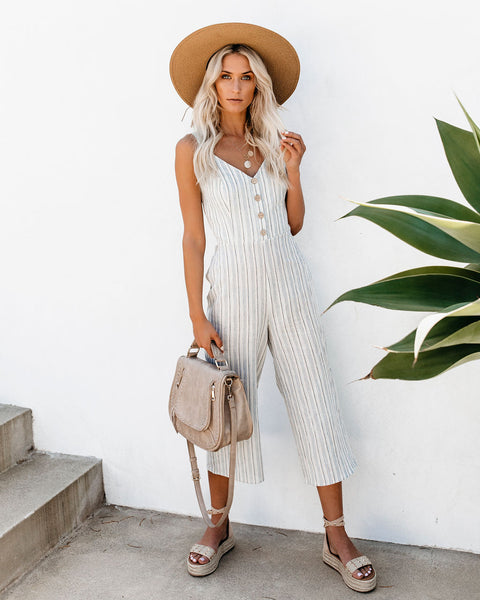 Beach Walks Striped Tie Back Jumpsuit