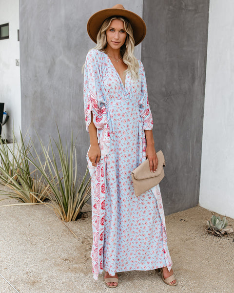 Beacon Hill Tie Back Kimono Maxi Dress - FINAL SALE
