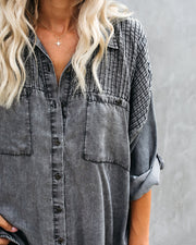 Be A Rockstar Tencel Button Down Top view 4