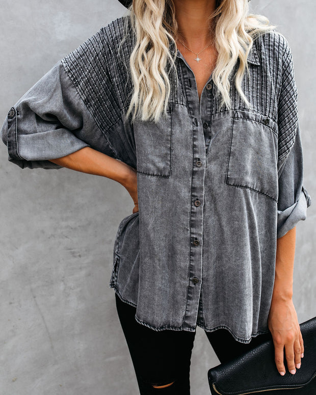 Be A Rockstar Tencel Button Down Top view 3