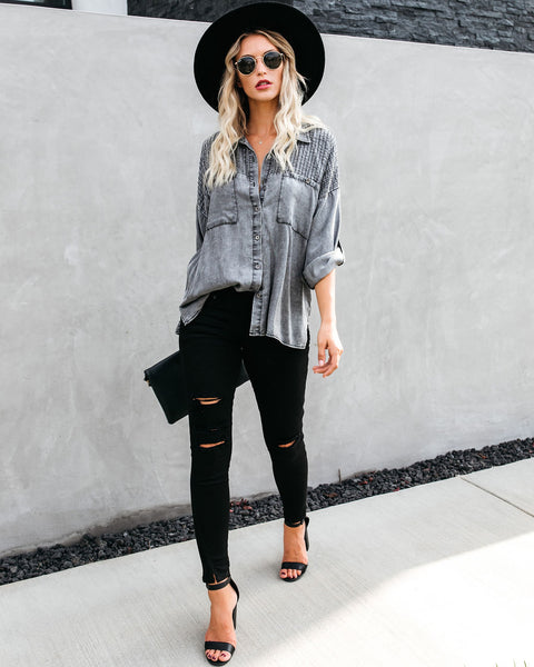 Be A Rockstar Tencel Button Down Top - FINAL SALE