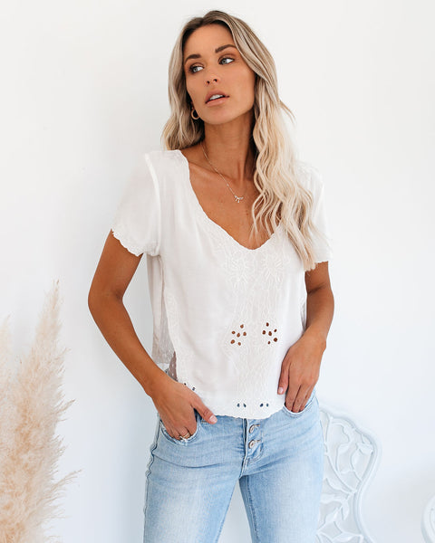 Beatrix Embroidered Mesh Eyelet Top