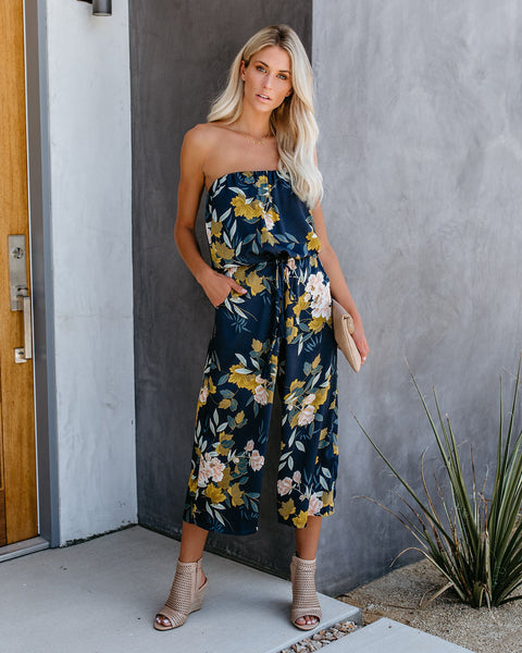 Beautiful Botanicals Strapless Pocketed Jumpsuit