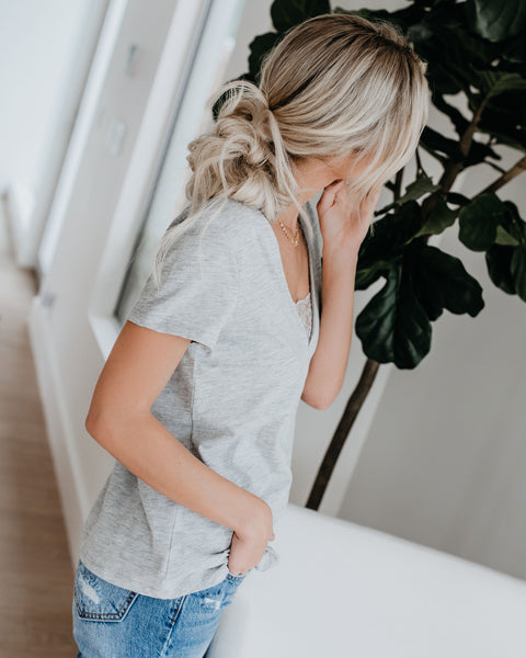 Beautify Cotton + Lace Tee - Heather Grey
