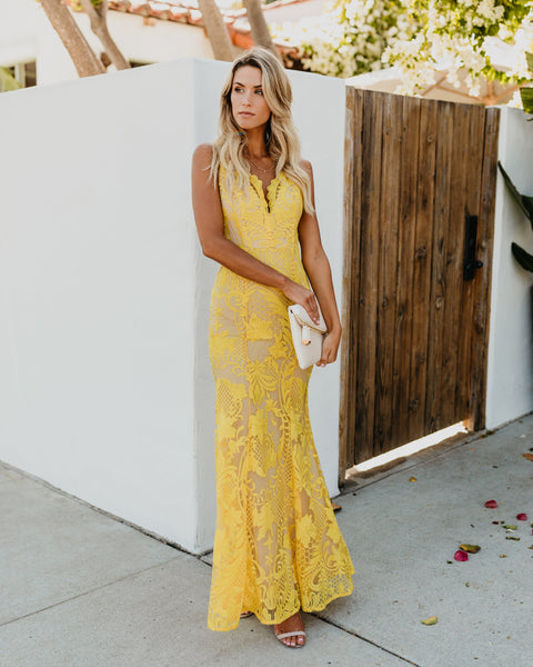 Beauty Never Fades Lace Maxi Dress - Yellow