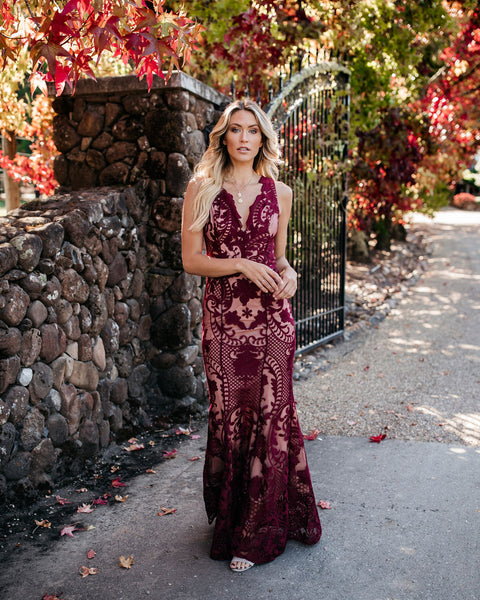Beauty Never Fades Lace Maxi Dress - Wine