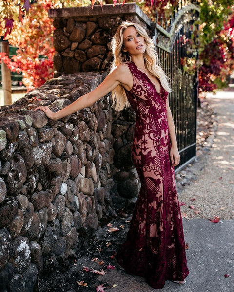 de67235c5de Beauty Never Fades Lace Maxi Dress - Wine