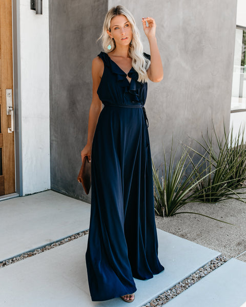 0c72a2bdda Beauty Secret Ruffle Tie Maxi Dress - Navy