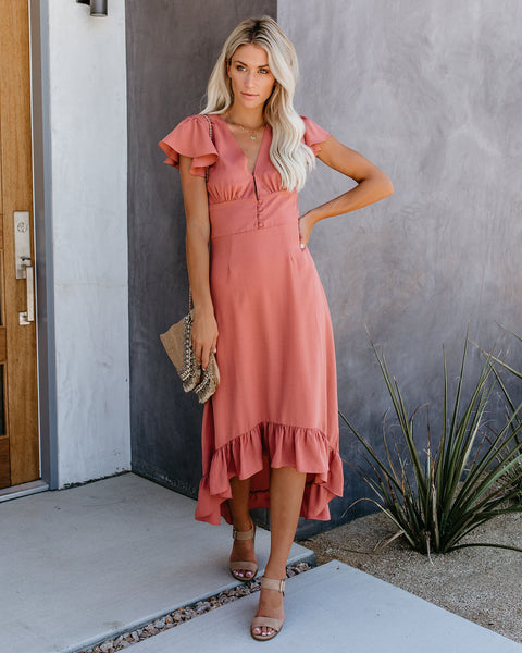 Beauty Sleep High Low Maxi Dress - Dusty Rose