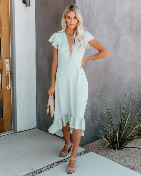 Beauty Sleep High Low Maxi Dress - Pistachio - FINAL SALE