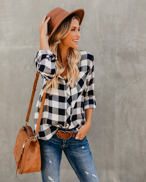 Beaux Button Down Plaid Top