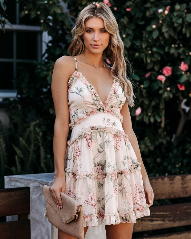 Because Of You Floral Ruffle Detailed Dress