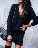 Becca Cotton Distressed Sweater - Midnight