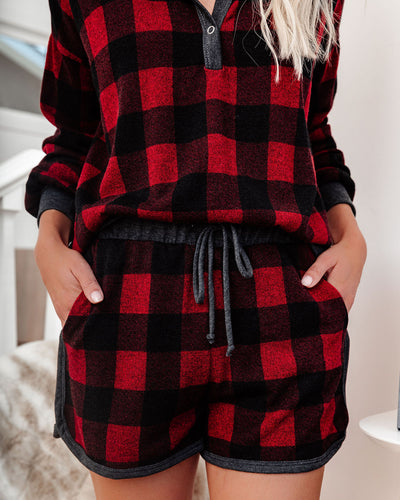 Bedtime Stories Buffalo Plaid Pocketed Knit Shorts - FINAL SALE