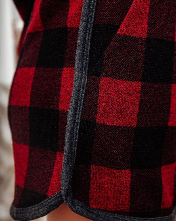 Bedtime Stories Buffalo Plaid Pocketed Knit Shorts - FINAL SALE view 4