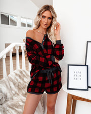 Bedtime Stories Buffalo Plaid Pocketed Knit Shorts - FINAL SALE view 1
