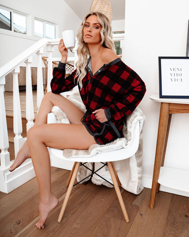 Bedtime Stories Buffalo Plaid Knit Henley Top
